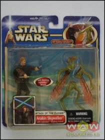 Anakin Skywalker + Geonosian Warrior - Lightsaber Slashing Action - DELUXE